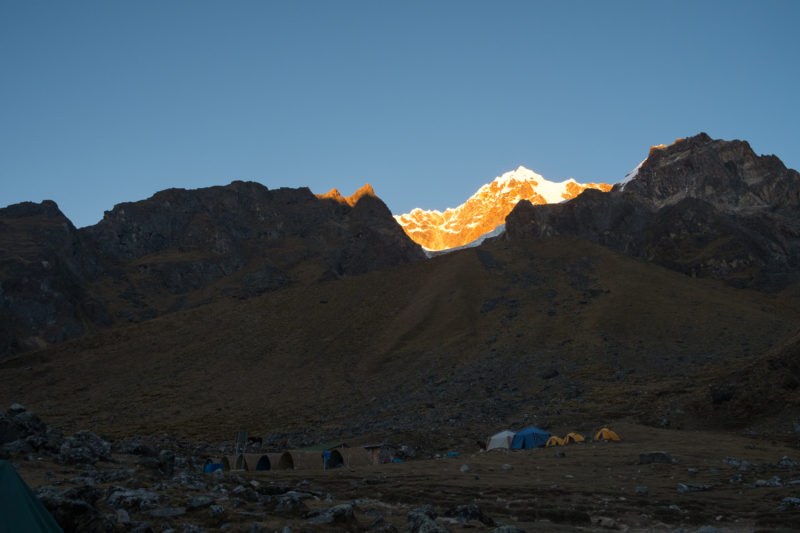 Orange Mountain Sorayqocha at Sunrise Salkantay Pass
