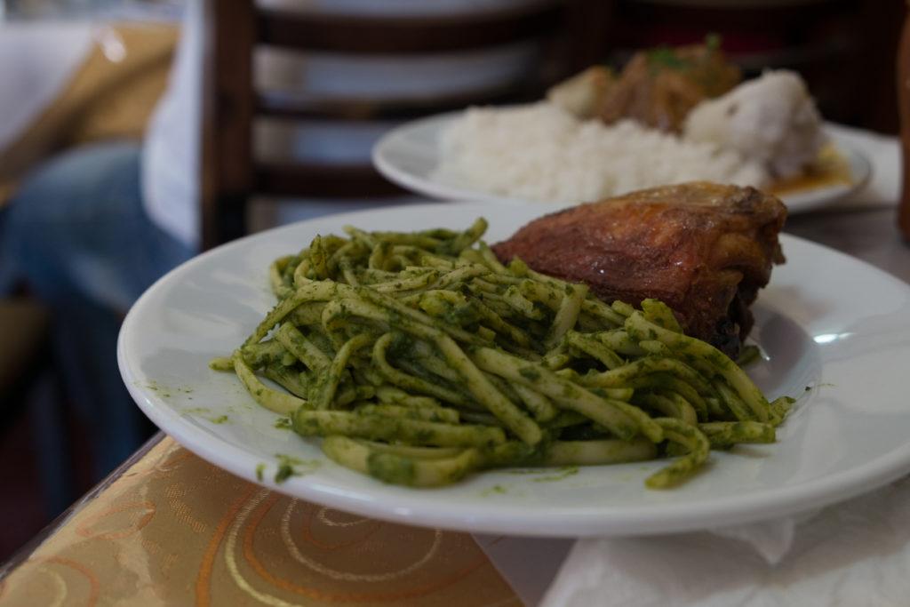 Q'ori Sara Restaurante Cusco Peru Roasted Chicken and Pesto Pasta