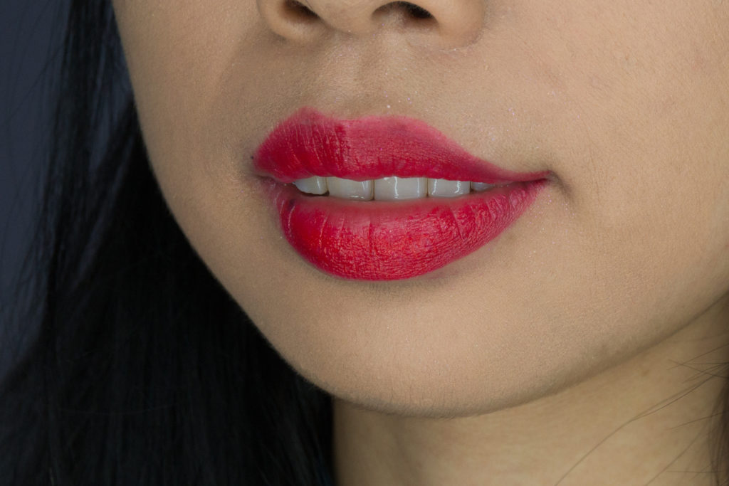 Clove + Hallow Lip Creme in Flaming Coral Swatch Vegan Cruelty Free Non Toxic Makeup Review