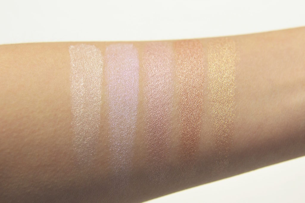 Physicians Formula Butter Highlighter Swatches - Pearl, Iridescence, Pink, Rose Gold, Champagne