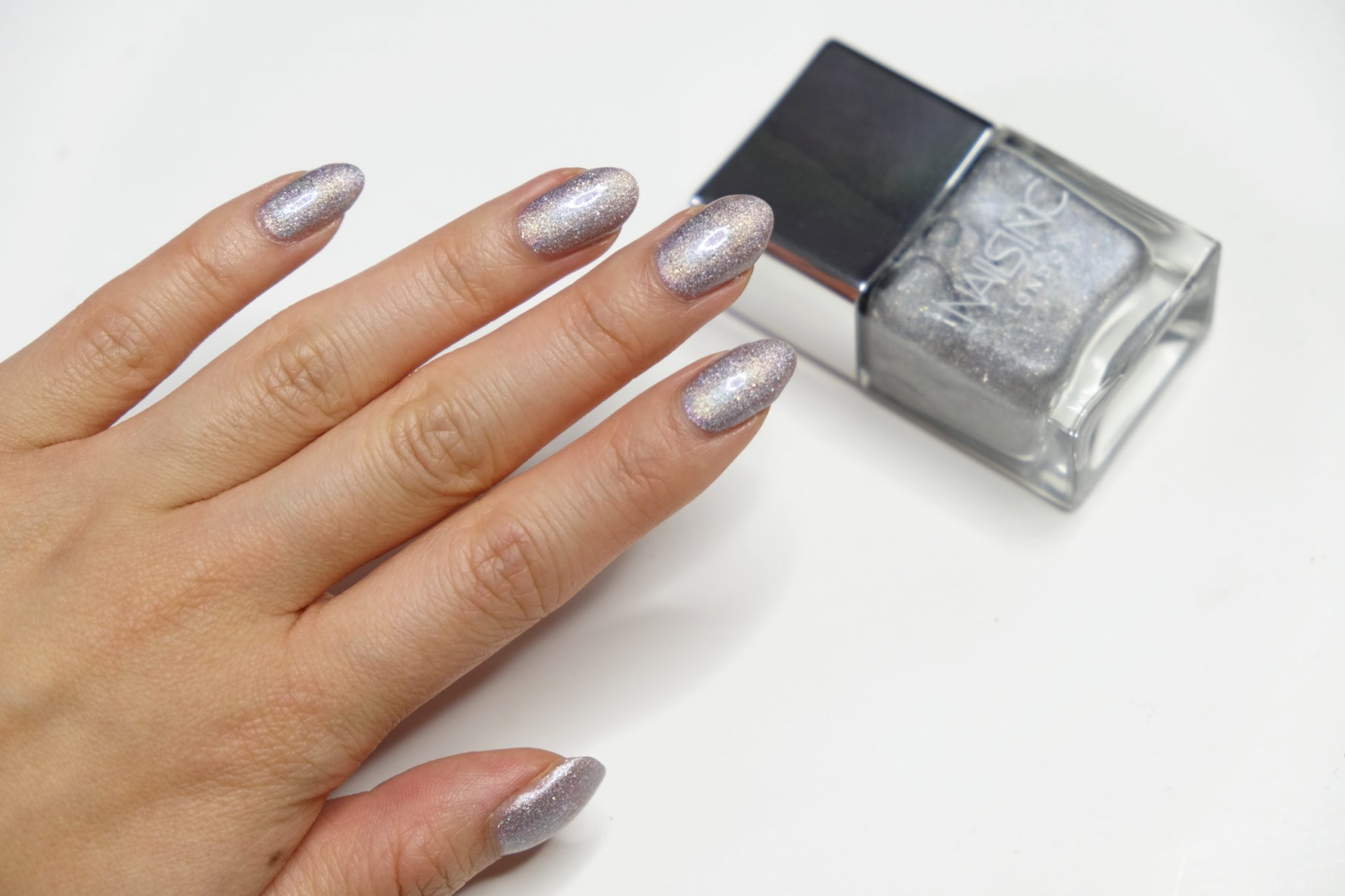Nails Inc Holographic Holler Graphic Rocket Fuel Swatch Review